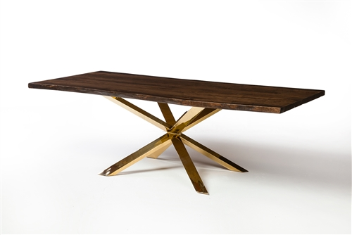 Couture Dining Table in Brushed Gold With Live Edge North American Walnut Table Top 96""