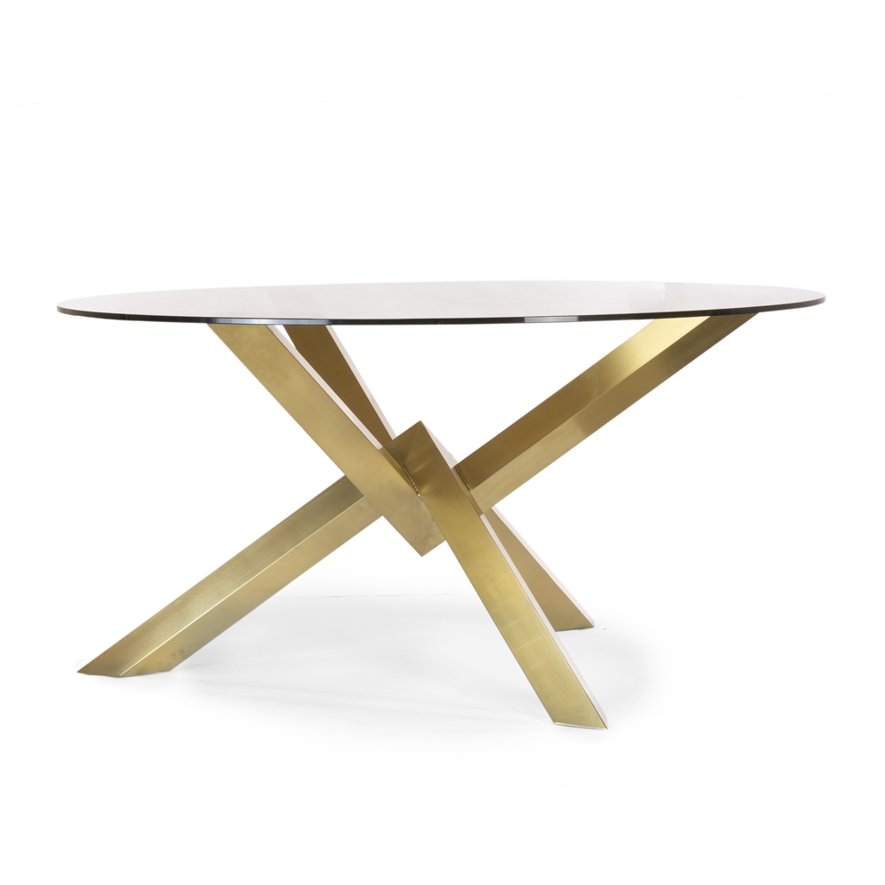 Couture Brushed Gold Dining Table With Gl Top