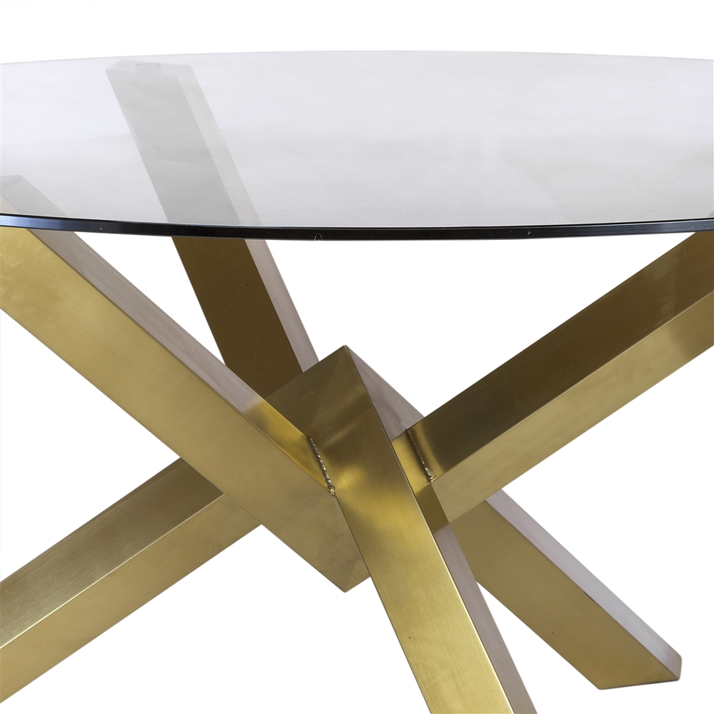 Couture Brushed Gold Dining Table With