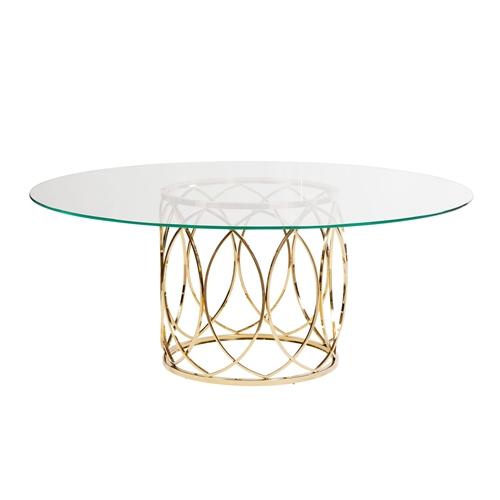 Jules Brushed Gold Dining Table