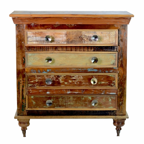 Vintage Reclaimed Mango Wood 4 Drawer Chest