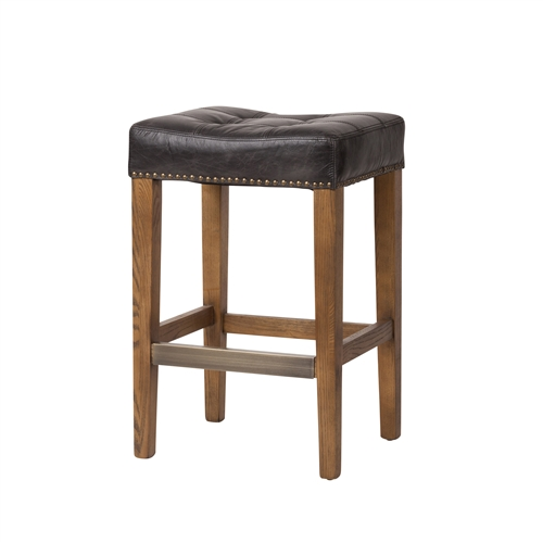 Ash Stool in Vintage Biker Black Leather