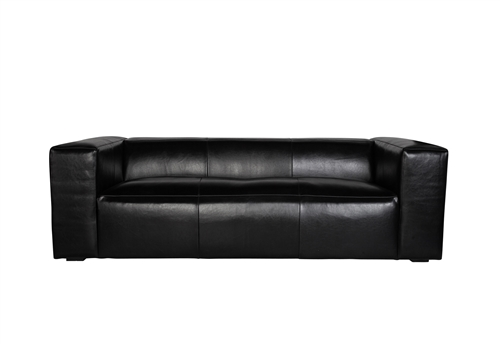"Lenyx 88"" Sofa in Distressed Black Leather"