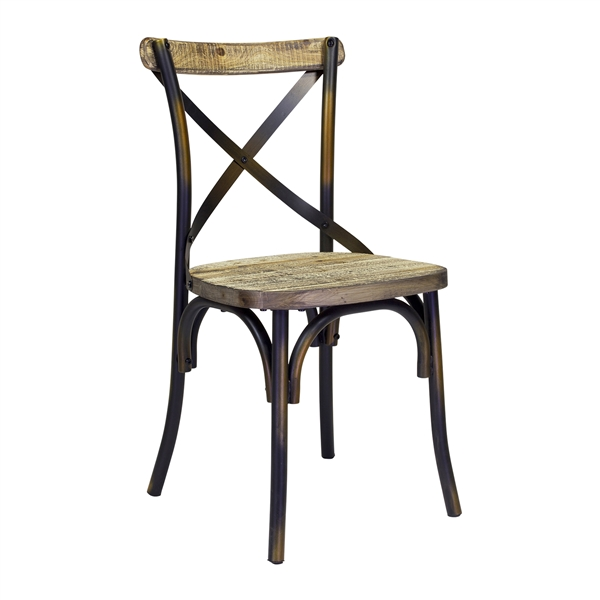 Rustic Reclaimed Crossback Dining Chair in Copper