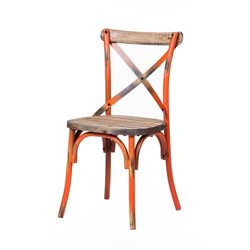 Rustic Reclaimed Crossback Dining Chair in Orange