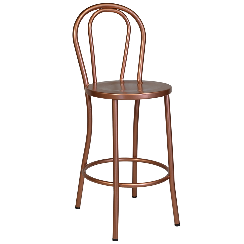 French Cafe Bar Stool In Copper The Khazana Home Austin