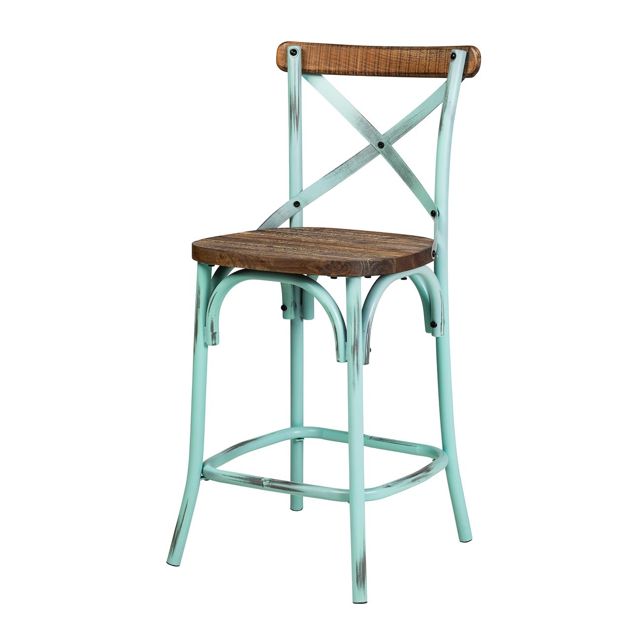 Rustic Sky Blue Reclaimed Pine Crossback Counter Stool , The Khazana ...