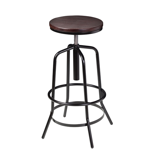 Wallace Adjustable Bar Stool in Dark Walnut