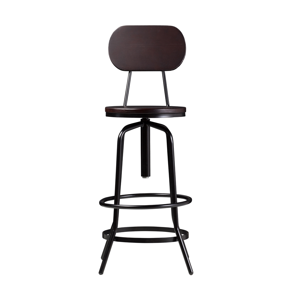 wallace adjustable counter bar stool with back in dark walnut