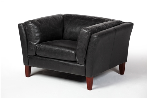 Draper Club Chair in Distressed Black