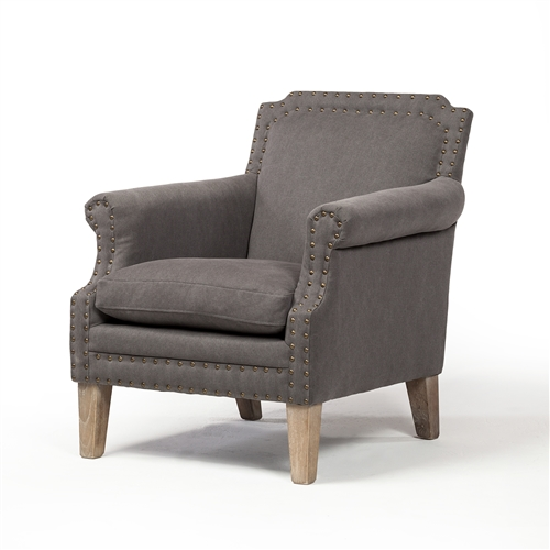 Gavin Occasional Chair in Stonewashed Grey Canvas