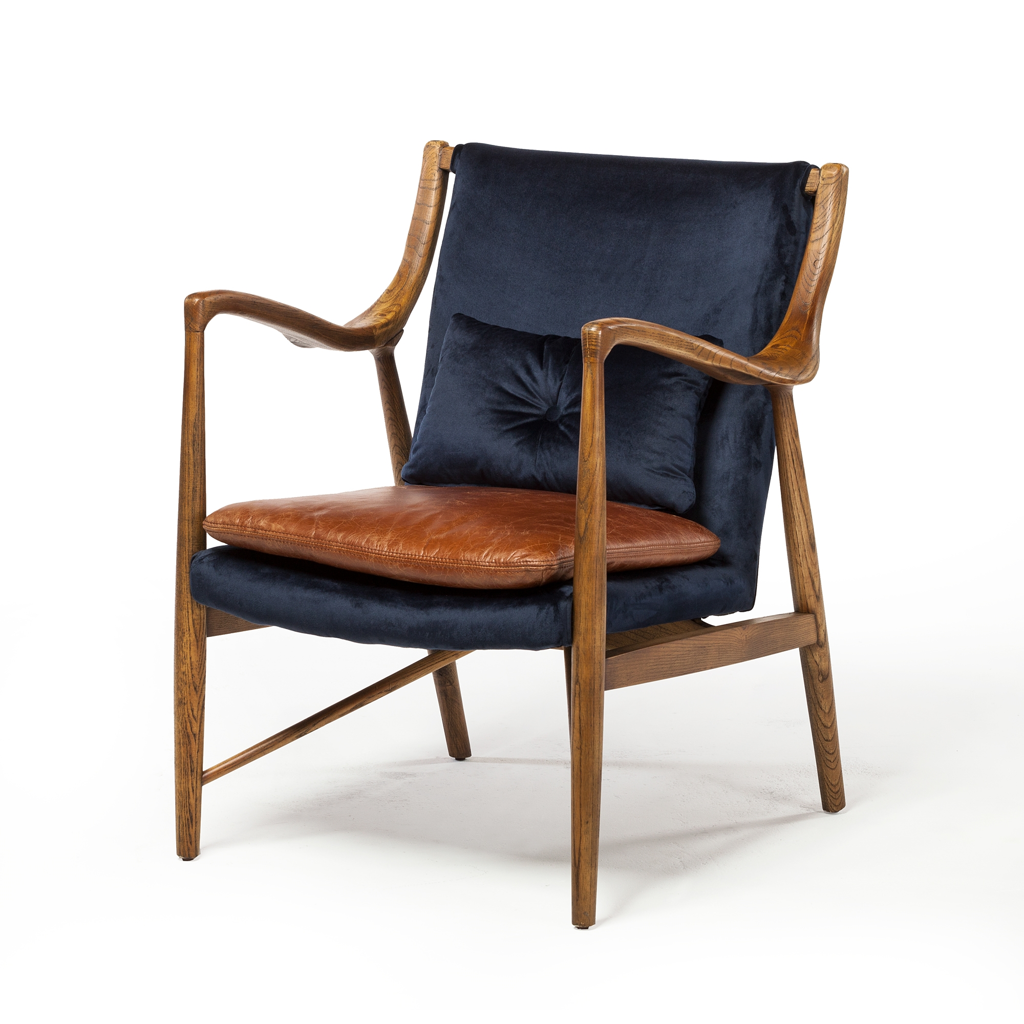Swell Copenhagen Midcentury Chair With Walnut Frame In Blue Velvet Pabps2019 Chair Design Images Pabps2019Com