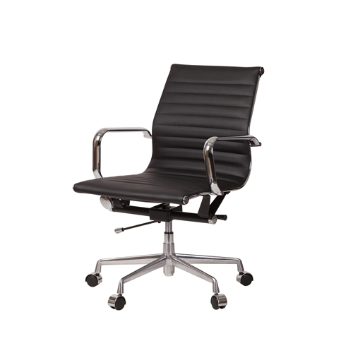 Mid-Century Modern High Back Office Chair in Black Leather
