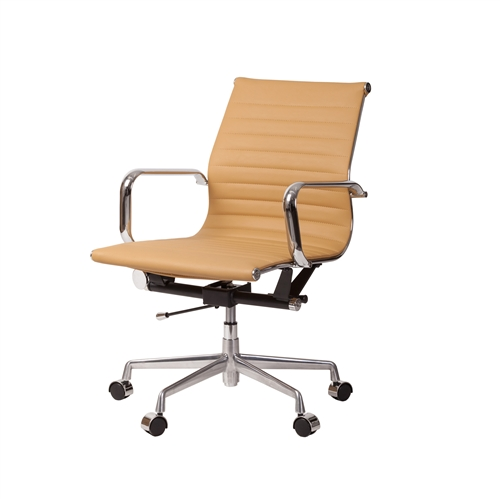 Mid-Century Modern High Back Office Chair in Brown Leather