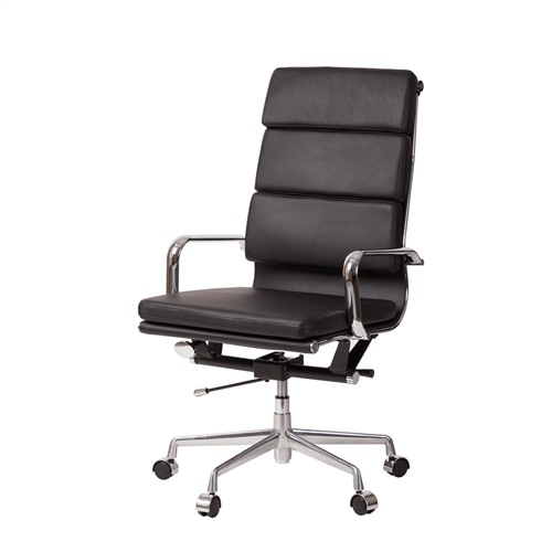 Mid-Century Modern High Back Office Chair in Black Leather Leather