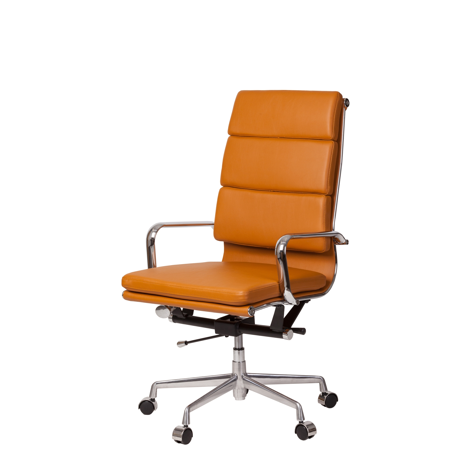 Mid-Century Modern High Back Office Chair in Basketball Brown Leather