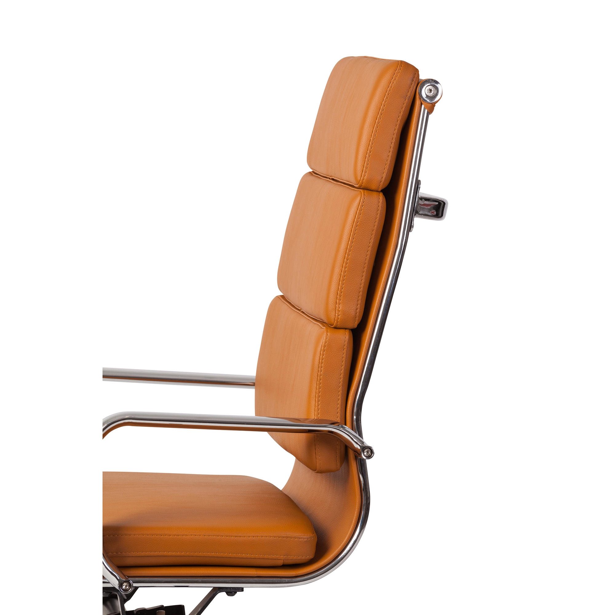 Astounding Mid Century Modern High Back Office Chair In Basketball Brown Leather Pabps2019 Chair Design Images Pabps2019Com