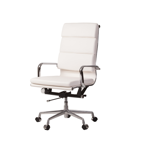 Mid-Century Modern High Back Office Chair in White Leather
