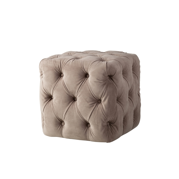 Grace Tufted Ottoman in Taupe