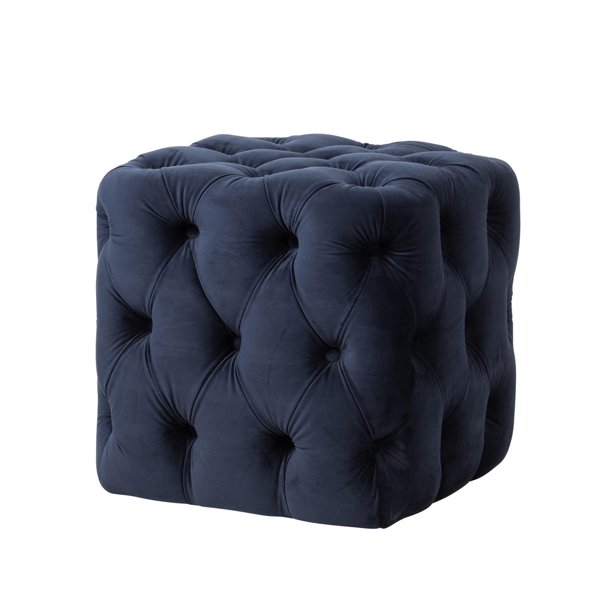 Superb Grace Tufted Ottoman In Navy Blue Velvet Bralicious Painted Fabric Chair Ideas Braliciousco
