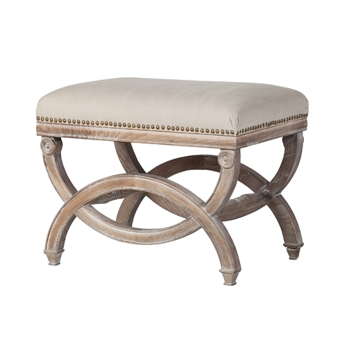 Elyse Ottoman  in Natural Off White