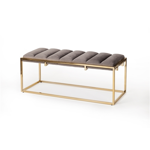 Albee Channelled Bench in Grey Performance Velvet