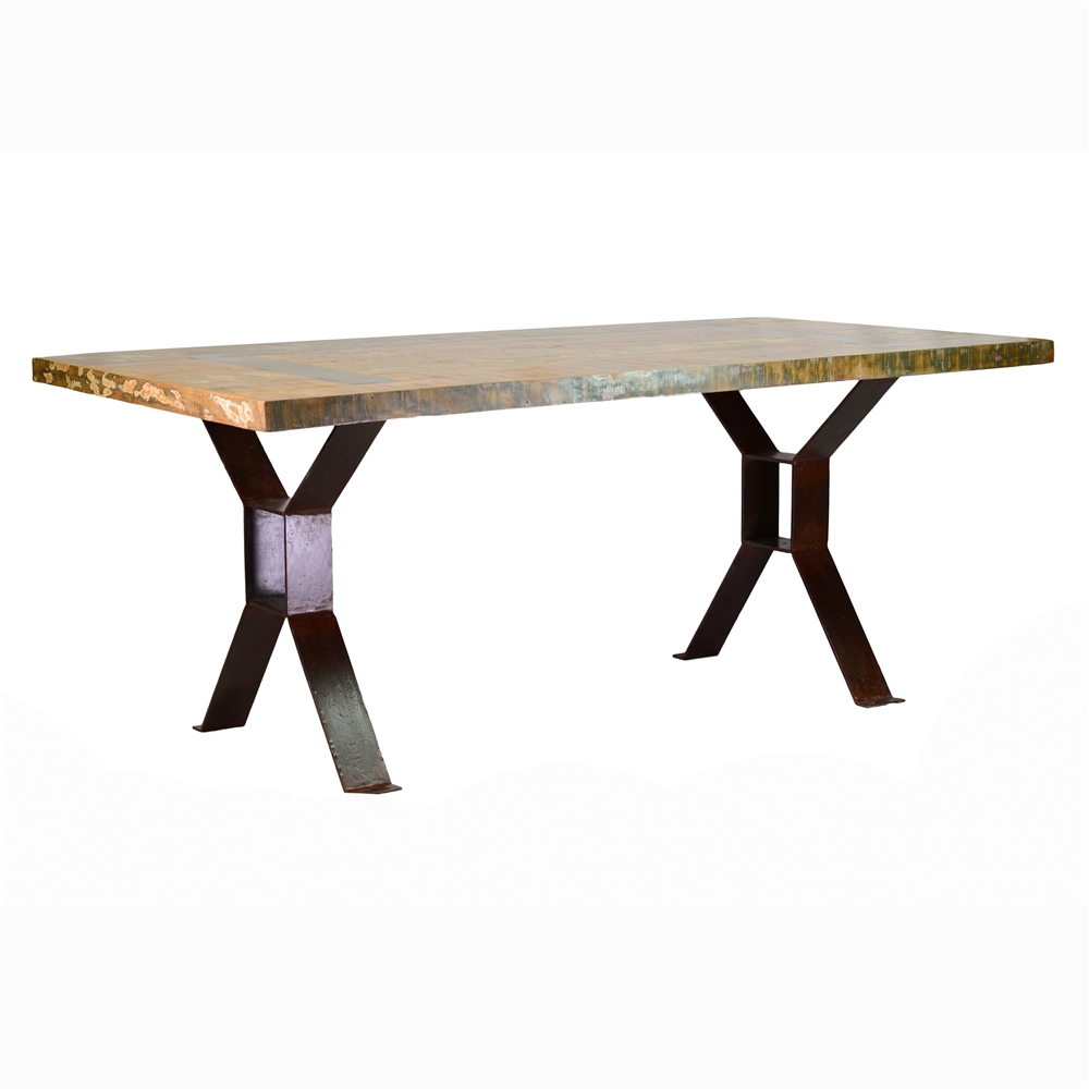 Reclaimed Wood And Iron Dining Table - Reclaimed wood and iron dining table