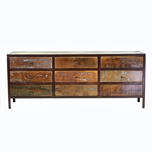 Vintage Reclaimed 9 Drawer Dresser