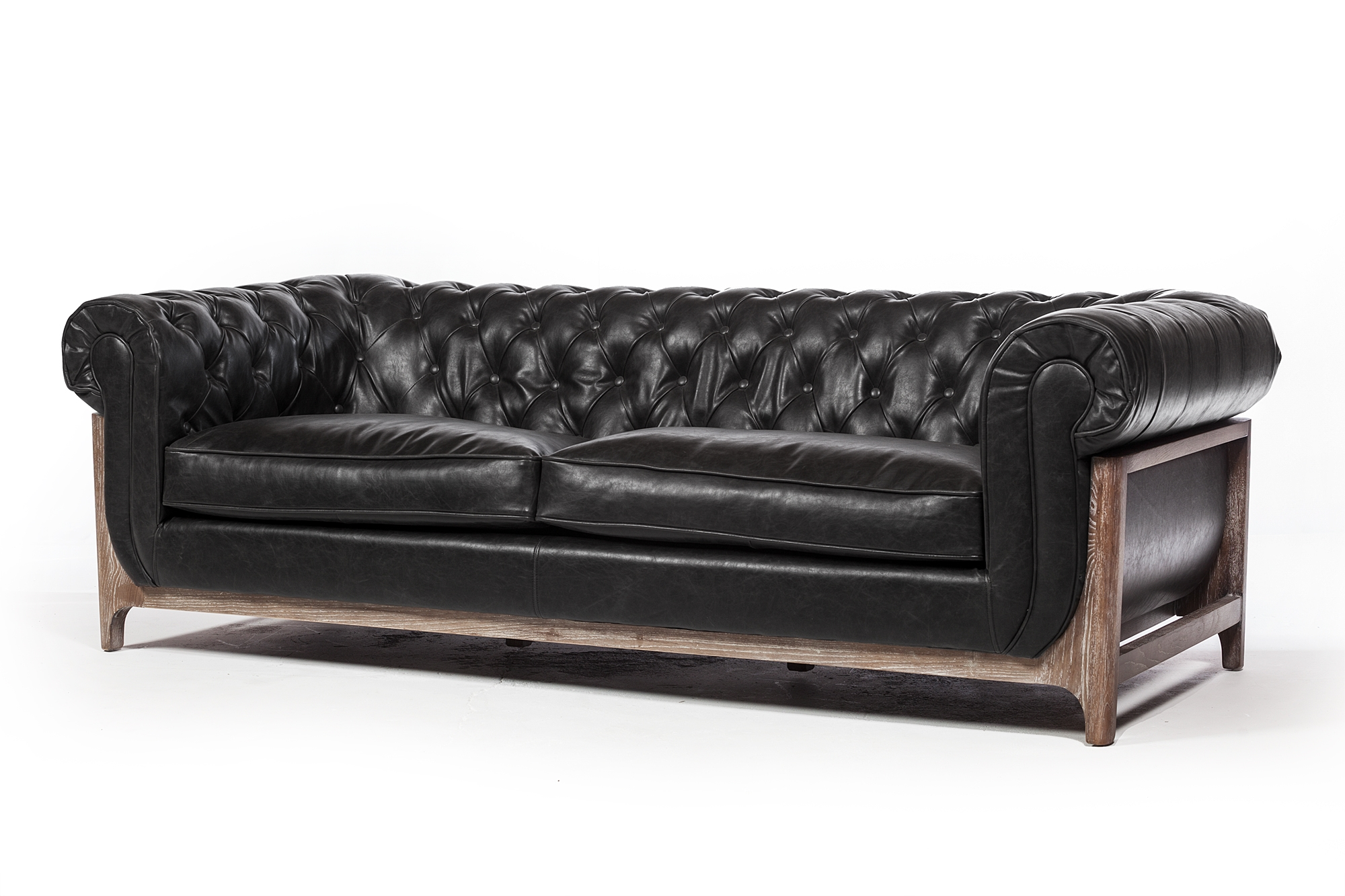 Katrina 3 Seater Black Leather Sofa