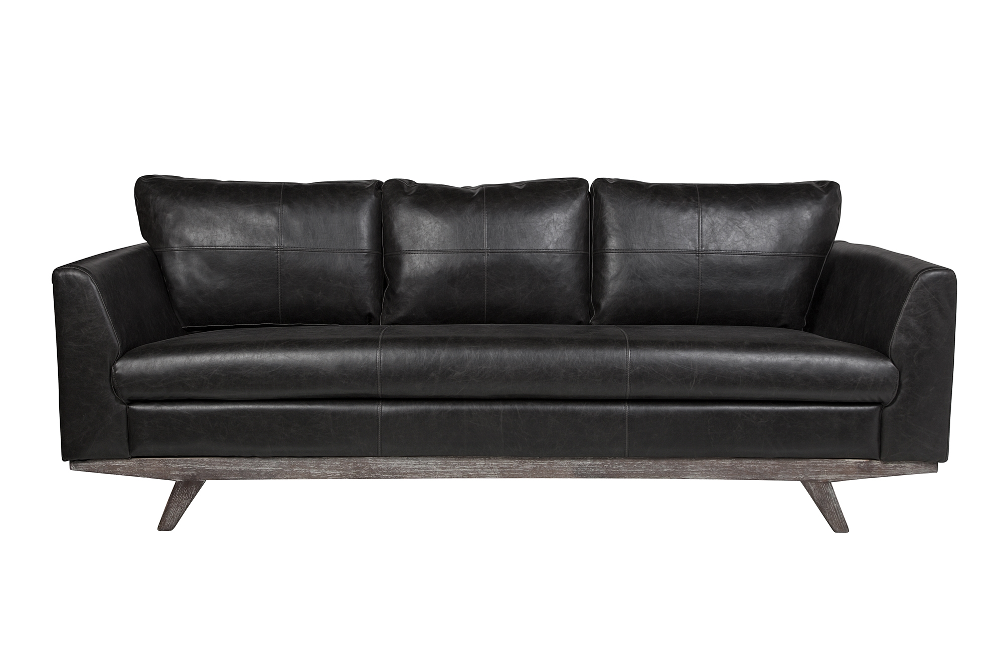 Maxwell 3 Seater Leather Sofa in Distressed Biker Black Leather