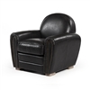 Paris Club Chair in Distressed Black Leather