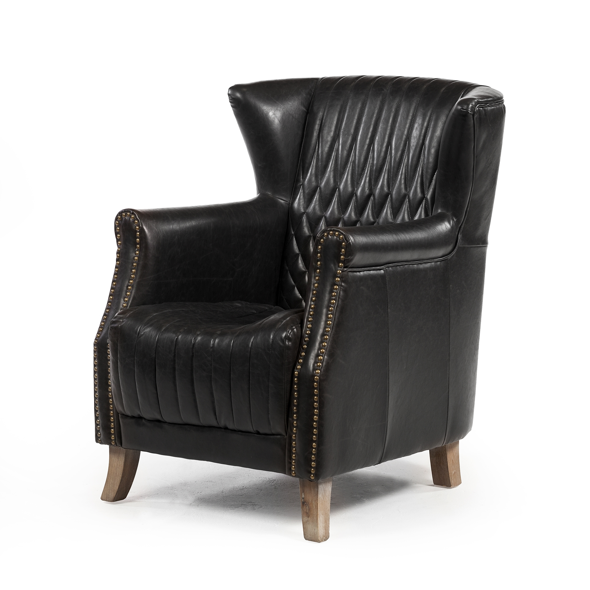 Wing Back Lounge Chair In Distressed Black Leather Larger Photo Email A  Friend