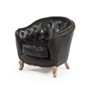 Petite Lounge Chair in Distressed Black Leather