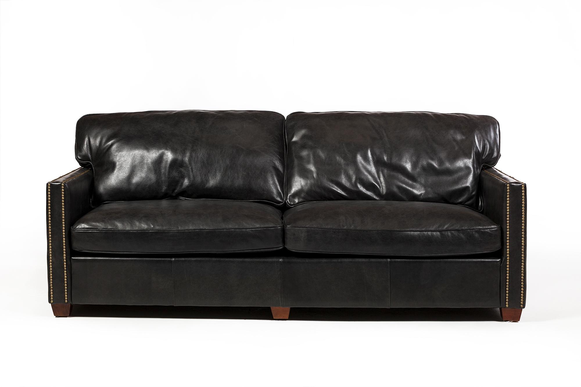 Marvelous Rifkin 83 Black Leather Sofa Short Links Chair Design For Home Short Linksinfo