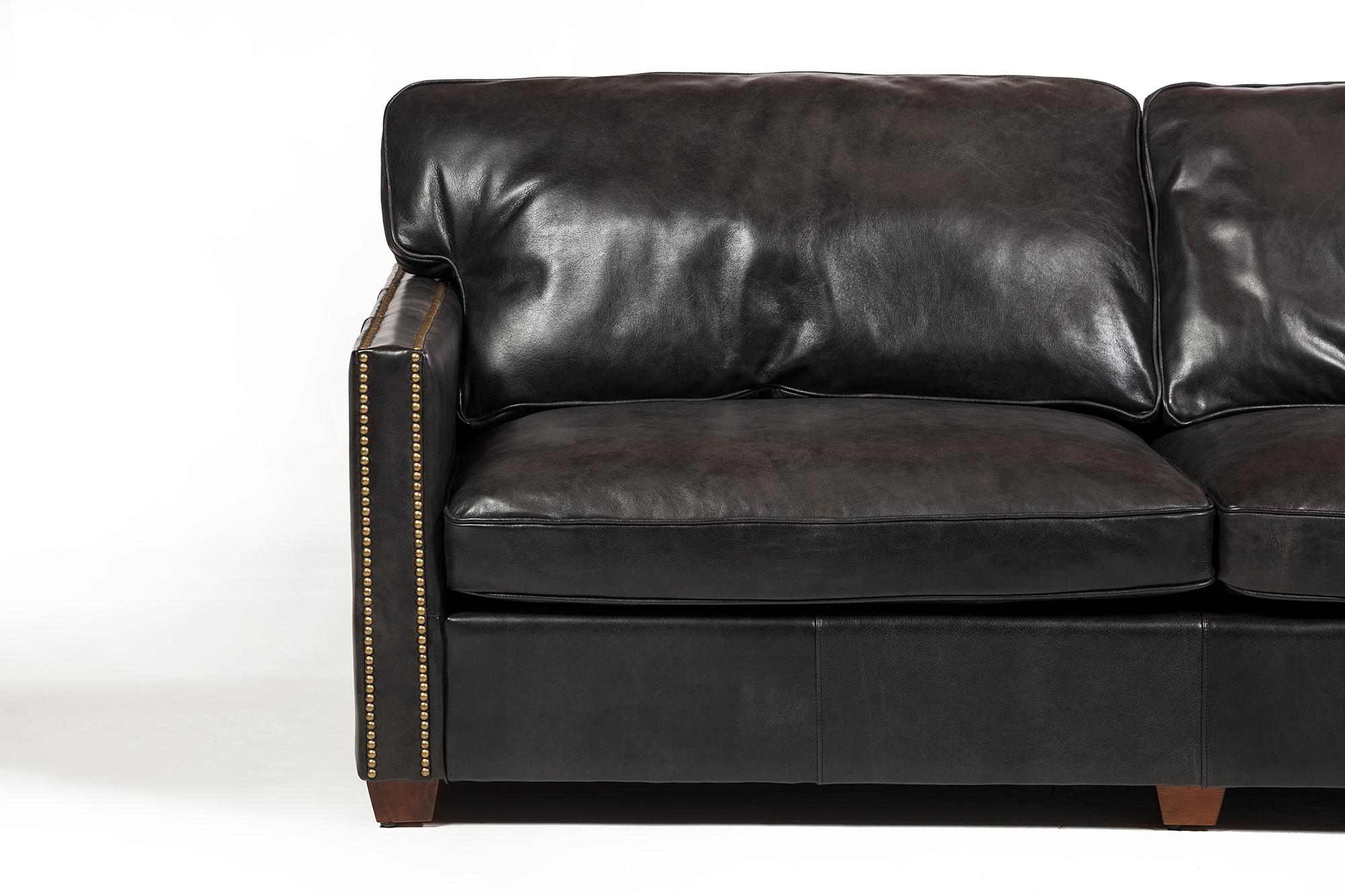 Sensational Rifkin 83 Black Leather Sofa Short Links Chair Design For Home Short Linksinfo
