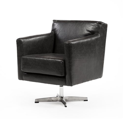 Capstone Swivel Arm Chair in Distressed Black