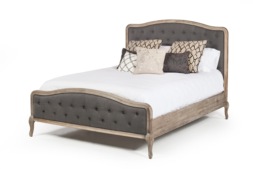 French Vintage Queen Bed Frame In Grey Linen