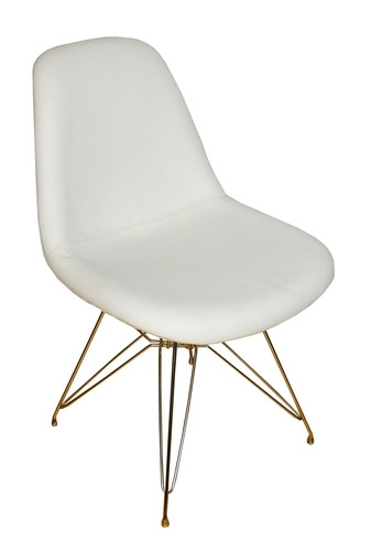 Eames Inspired Side Chair White Leather