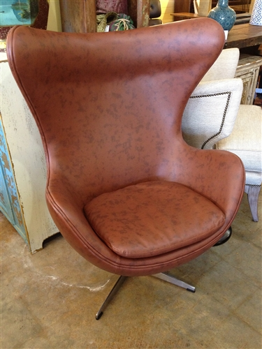 Jacobson Inspired Egg Chair Brown Leather