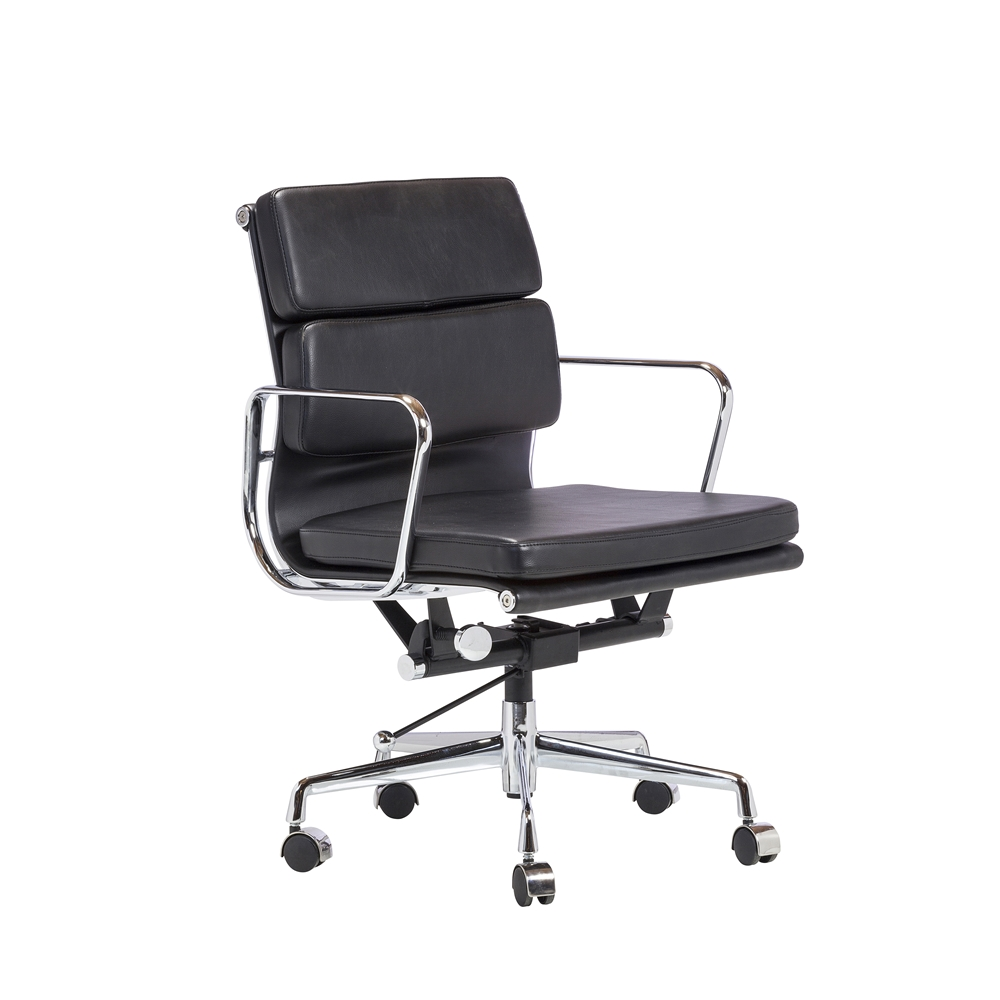 Replica Eames Soft Pad Aluminum Chair in BlackReplica Eames Group Aluminum Chair in Black  The Khazana Home  . Eames White Soft Pad Style Executive Office Chair. Home Design Ideas