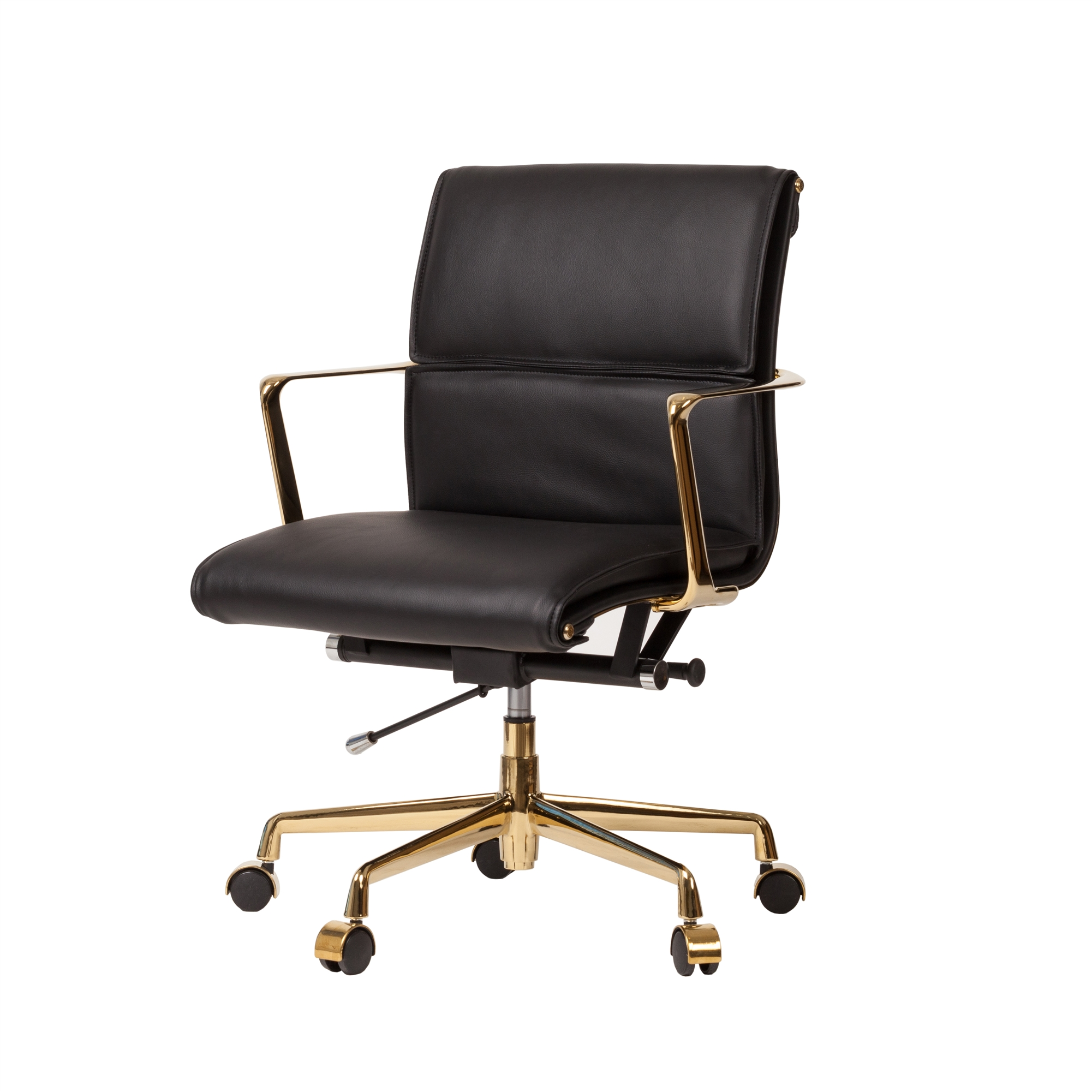Mid Century Modern Office Chair In Black And Gold Ck The Khazana Home Austin Furniture Store