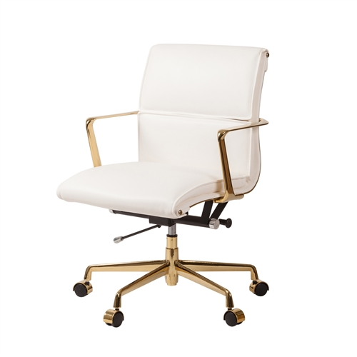 Mid-Century Modern Office Chair in White and Gold