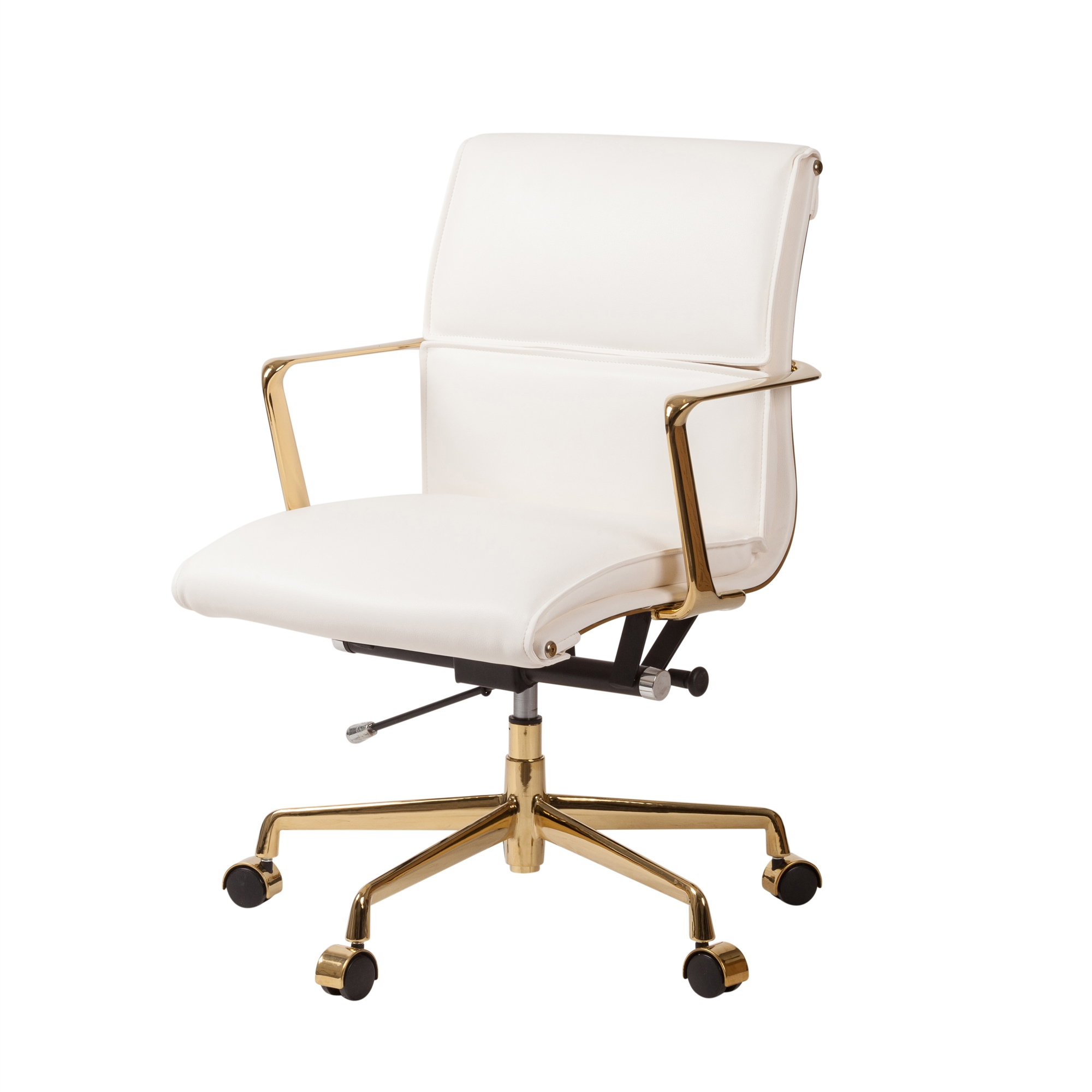 Sensational Cooper Mid Century Modern Office Chair With Gold Base White Leather Pabps2019 Chair Design Images Pabps2019Com