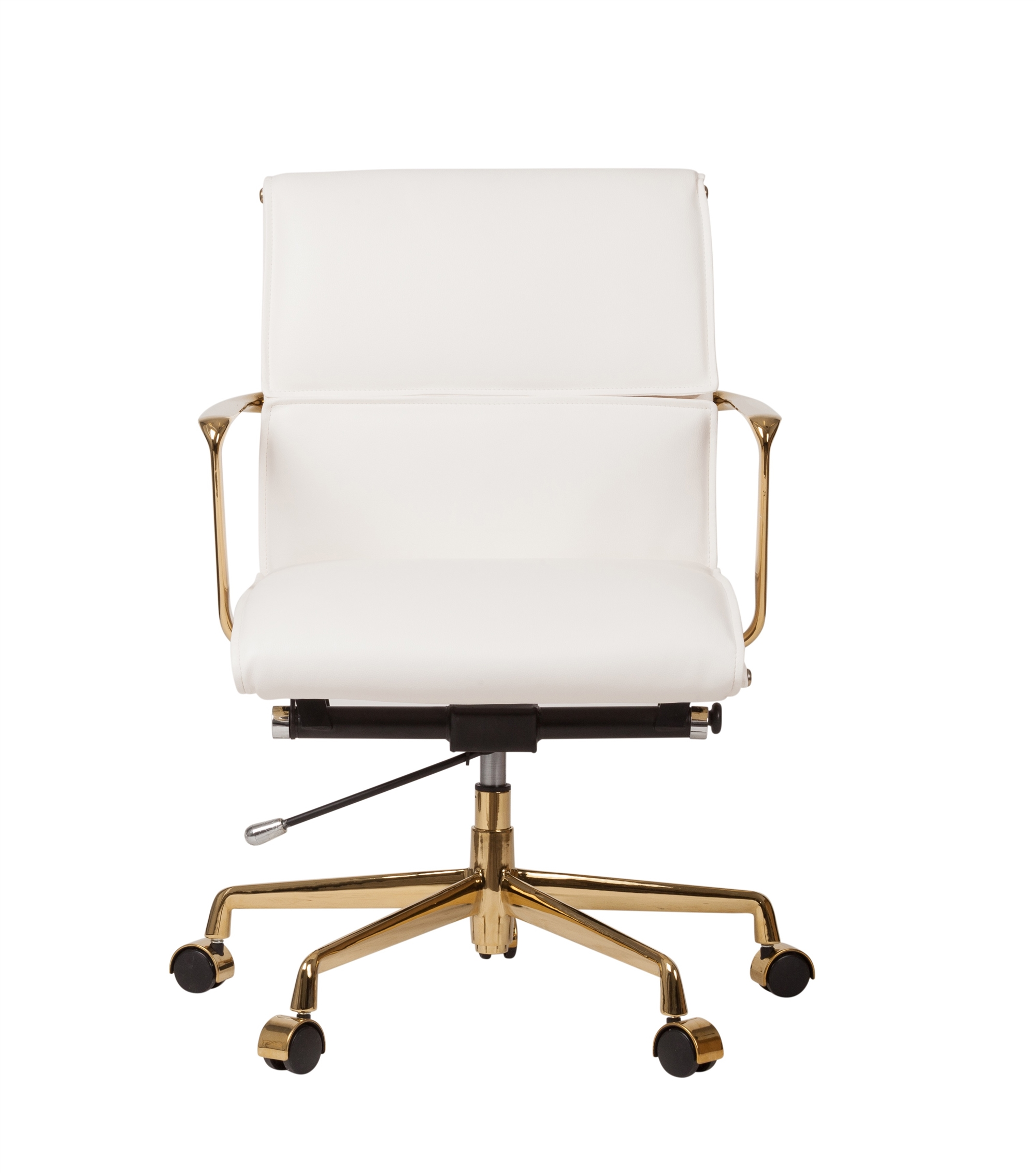 Awesome Cooper Mid Century Modern Office Chair With Gold Base White Leather Ibusinesslaw Wood Chair Design Ideas Ibusinesslaworg