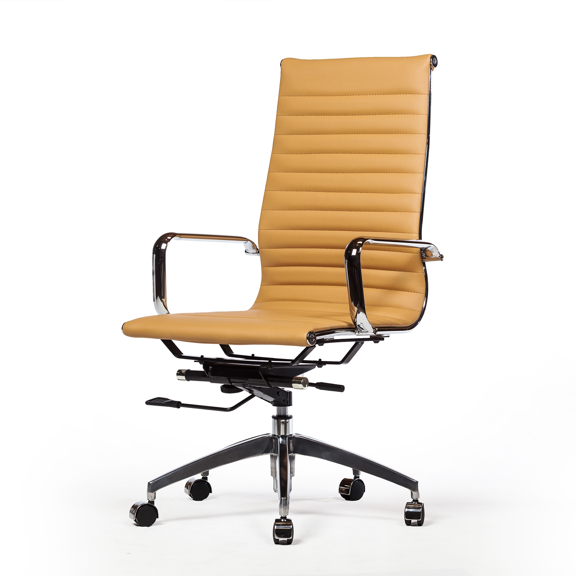 Mid-Century Office Chair in Brown Leather