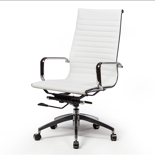 Mid-Century Modern Office Chair in White