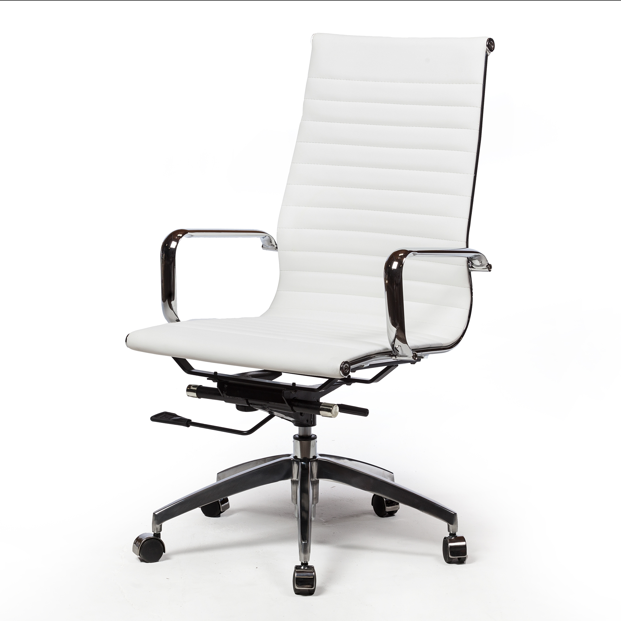 Mid Century Modern Office Chair In White The Khazana Home Austin