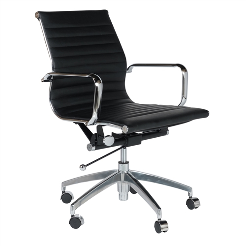 Mid-Century Modern Office Chair in Black Leather