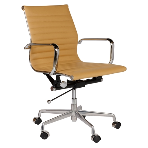 Eames Style Aluminum Group Management Chair in Brown