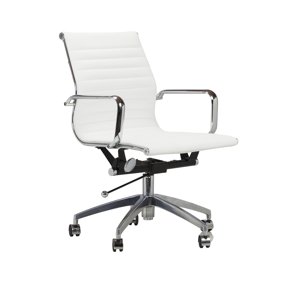 Mid Century Modern Office Chair In White